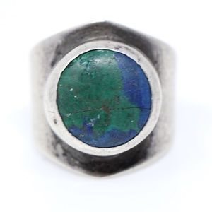Jewelry - VINTAGE 925 Azurite Malachite Knuckle Ring 9.5